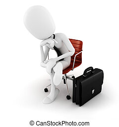 3d man executive sitting in a chair planing the next move ,...