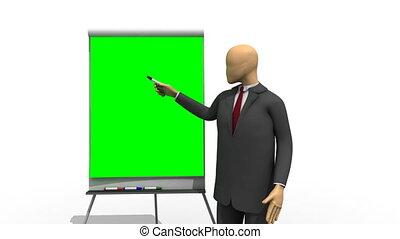 3d-man, explaining, зеленый, доска