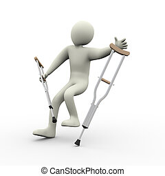 3d man falling - 3d illustration of disabled man with...