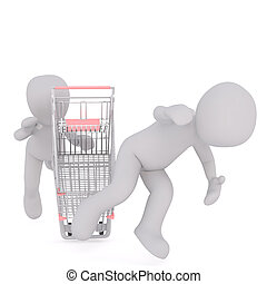 3D man falling off shopping cart
