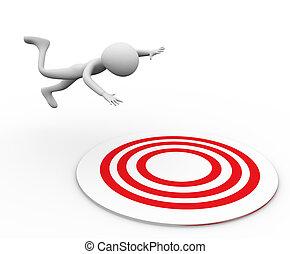 3d man falling on target