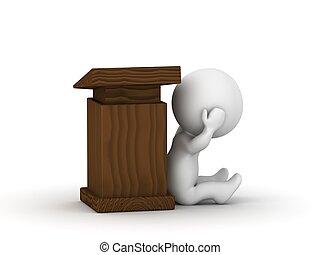 3D Man fear of public speaking pani