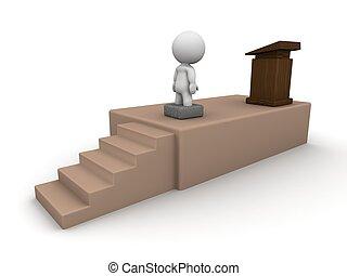 3D Man fear of public speaking stuc - A 3D man is stuck in a...