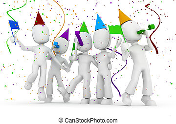 3d, man, feestje, vrijstaand, op wit