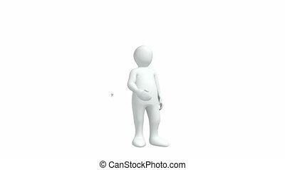 3d-man, fehér, ellen, háttér