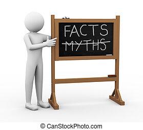 3d, man, feiten, en, mythen, chalkboard, illustratie