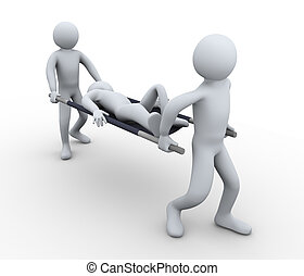 3d man first aid help - 3d illustration of people taking ...