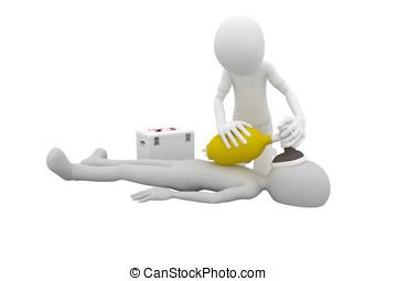 3d man first aid - 3d man doing artificial respiration first...