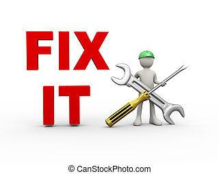 3d man fix it wrench and screwdriver