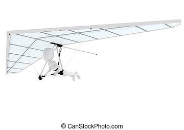 3d man flying a hang-glider