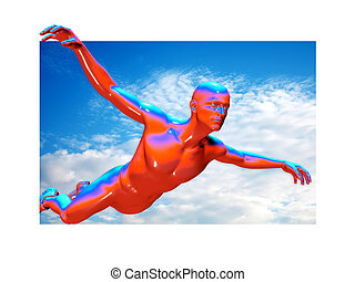 3d man flying