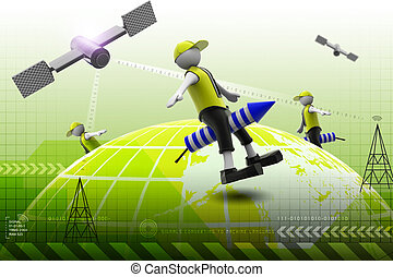 3d man flying rocket