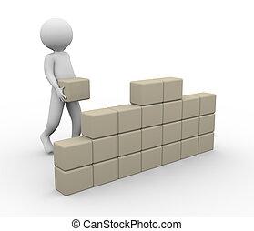3d, man, gebouw, muur