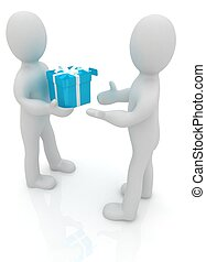 3d man gives gift