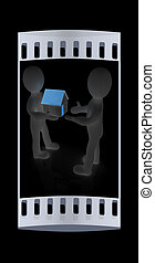 3d man gives house. The film strip