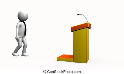 3D man giving a presentation against a white background