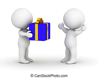 A 3d guy giving a wrapped gift to another surprised happy 3d guy