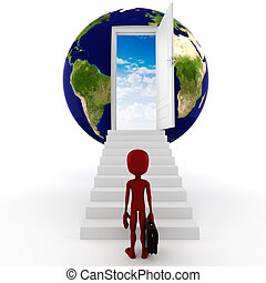 3d man; global business concept