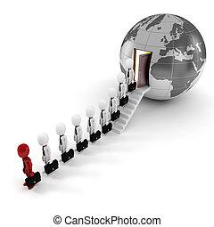 3d man, global business concept