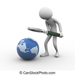 3d man globe searching - 3d man with magnifying glass ...