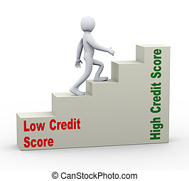 3d man going from low to high credit score