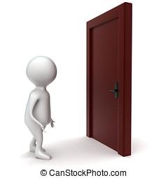 3d man going to open door concept