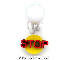 3d man going to press stop button concept