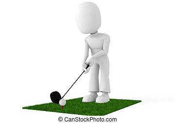 3d man golf player