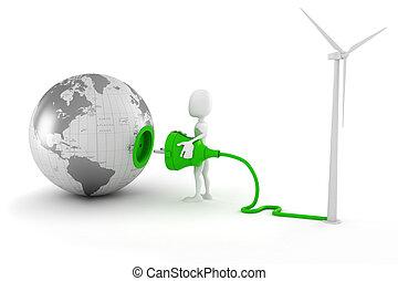 3d man green energy concept