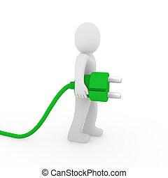 3d, man, groene, stekker