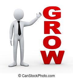 3d man grow word presentation