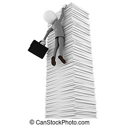 3d man hanging of documents, on white background