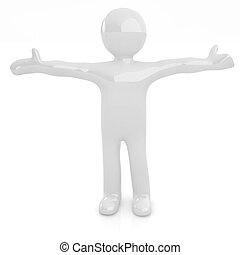 3D man happy man with wide open hands