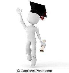 3d man happy student
