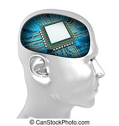3d man head with microchip - 3d illustration of microchip...