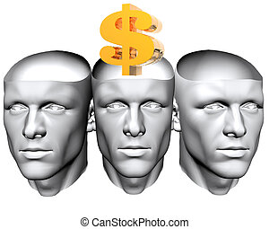 3D man heads with us dollar sign