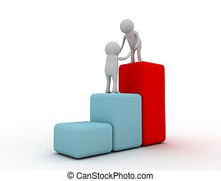 3d man help climb on the graph success concept