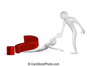 3d man helping another one crushed by question mark to stand...