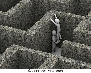 3d man helping his partner in maze.