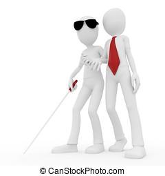 3d man helping older blind man