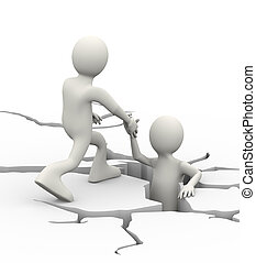 3d man helping person trap in crack - 3d illustration of man...