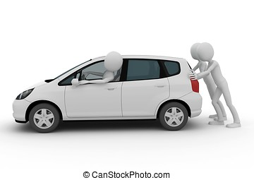 3d man helping pushing a breakdown car isolated on white