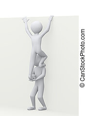 3d man helps partner illustration