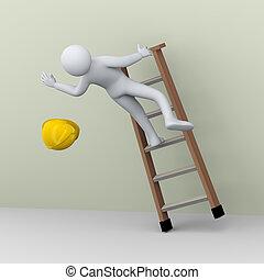3d, man, het vallen, van, ladder, gedurende, werken