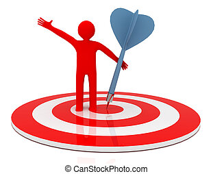 3d man hit the target. success in business.