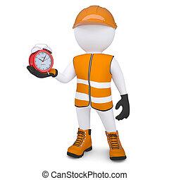 3d man holding a alarm clock