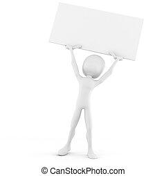 3d man holding a big blank placard