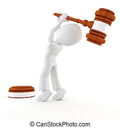 3d man holding a big gavel, isolated on white