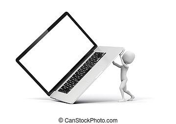 3d man holding a big laptop
