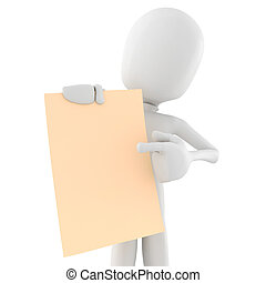 3d man holding a blank sheet of paper